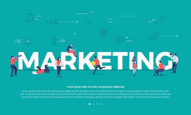Concepto de diseño plano trabajo en equipo de gente de negocios construyendo texto marca