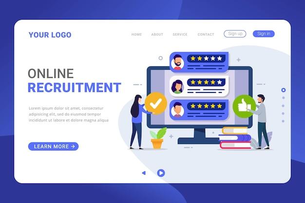 Concepto de diseño de proceso de contratación de plantilla de página de destino