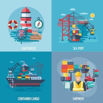 Concepto de diseño de puerto de mar con iconos planos de carga y envío de contenedores