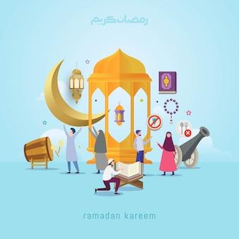 Concepto de diseño de ramadan kareem con gente pequeña.