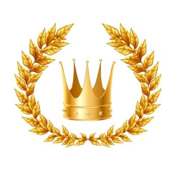 Concepto de diseño realista con corona y corona de laurel dorado.