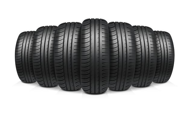 Concepto de diseño realista de neumáticos de coche