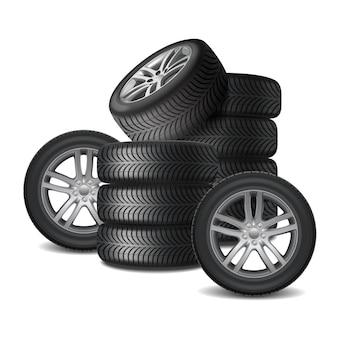 Concepto de diseño realista de ruedas de coche