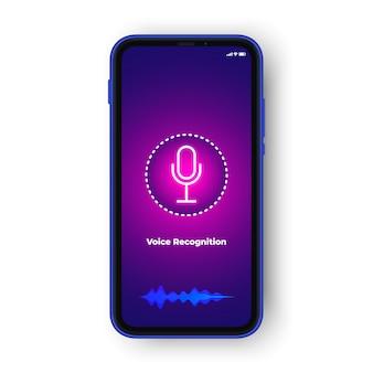 Concepto de diseño de reconocimiento de voz o asistente de voz ui. teléfono realista icono de voz y onda de audio, concepto de aplicación de asistente de voz.