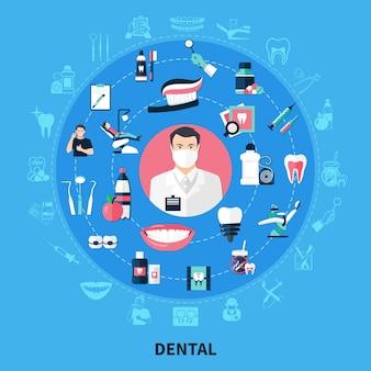 Concepto de diseño redondo dental con equipo estomatológico, soporte de pasta de dientes, hilo dental, sonrisa blanca, iconos planos, ilustración vectorial