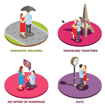 Concepto de diseño de relación romántica 2x2
