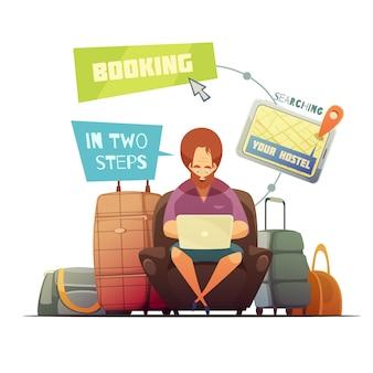 Concepto de diseño de reserva de albergue con dibujos animados de hipster ocupado búsqueda en línea del vector plano casa de huéspedes
