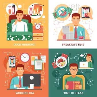 Concepto de diseño de rutina diaria de hombre