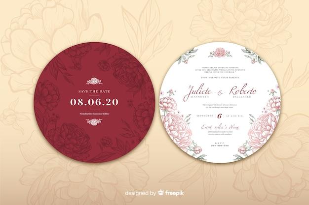 Concepto de diseño simple para invitación de boda