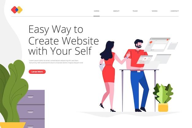 El concepto de diseño de sitio web de página de destino creativa crea su sitio web de manera fácil