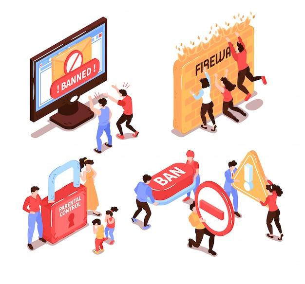 Concepto de diseño de sitio web prohibido isométrico con personajes humanos y pictogramas de iconos conceptuales con ilustración de vector de dispositivos electrónicos de computadora