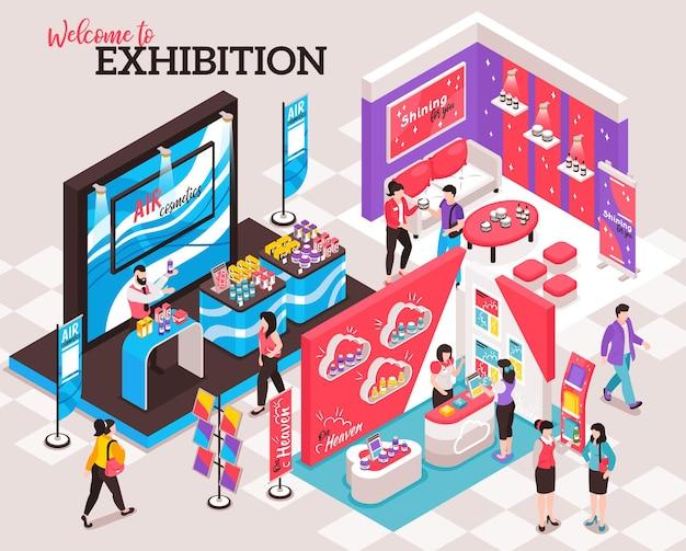 Concepto de diseño de stand de exposición isométrica de ilustración de diseño de stand de exposición