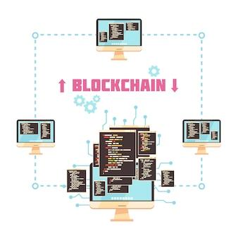 Concepto de diseño de tecnología blockchain