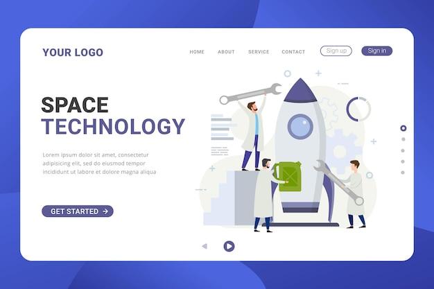 Concepto de diseño de tecnología espacial de cohetes de plantilla de página de destino