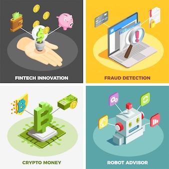 Concepto de diseño de tecnología financiera 2x2