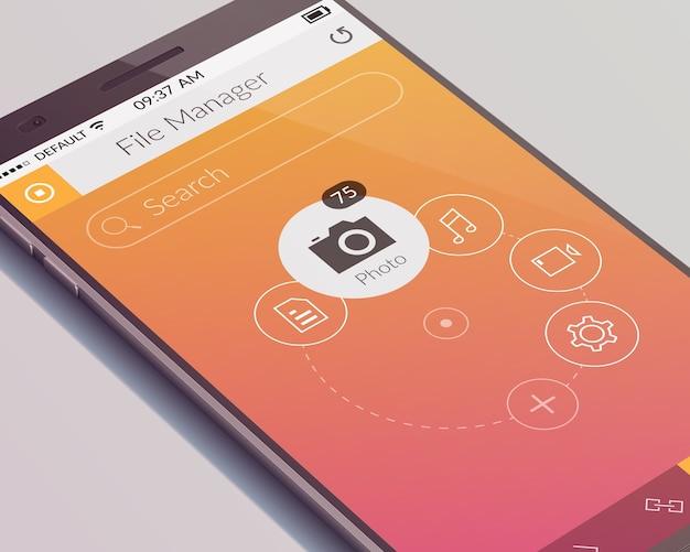 Concepto de diseño de teléfono realista con pantalla táctil y aplicación de interfaz de usuario móvil aislada