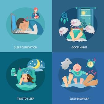El concepto de diseño del tiempo del sueño fijado con los iconos planos de la privación y del desorden aislados