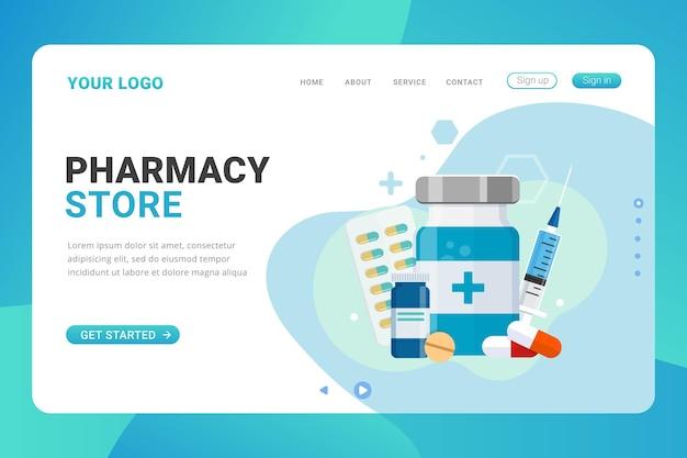 Concepto de diseño de tienda de farmacia de plantilla de página de destino