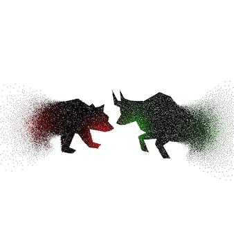 Concepto de diseño de toro y oso hechos con partículas