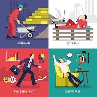 Concepto de diseño de trabajador cansado