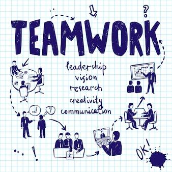 Concepto de diseño de trabajo en equipo