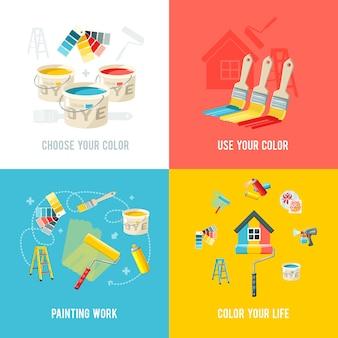 Concepto de diseño de trabajo de pintura