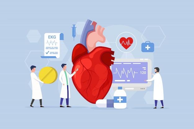 Concepto de diseño de tratamiento de enfermedades del corazón con personas pequeñas