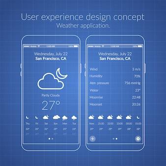 Concepto de diseño de ux móvil con dos iconos de pantallas y elementos web para la ilustración de la aplicación meteorológica