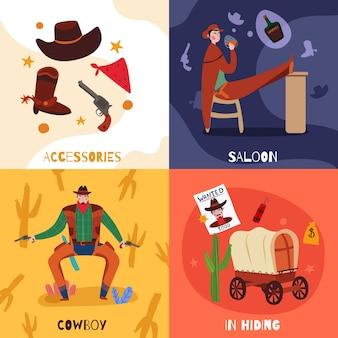 Concepto de diseño de vaquero del salvaje oeste con composiciones de texto de iconos planos e imágenes de ilustración de vector de cosas vintage