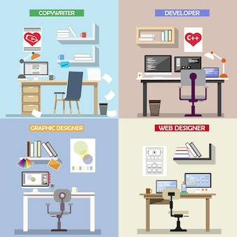Concepto de diseño vectorial para lugares de trabajo.
