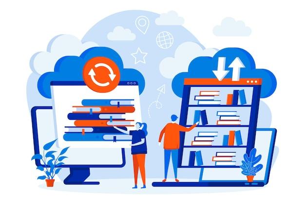 Concepto de diseño web de biblioteca en la nube con personajes de personas