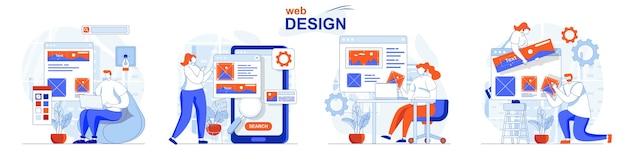 Concepto de diseño web diseñadores de conjuntos crean diseños de sitios, dibujos y elementos de lugares