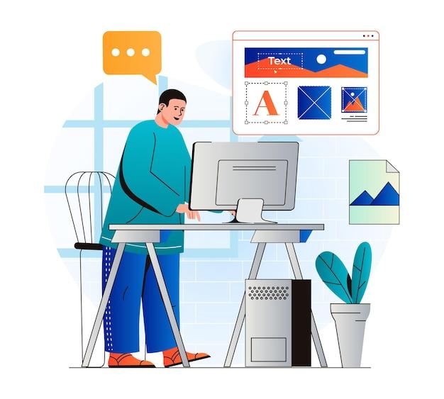 Concepto de diseño web en diseño plano moderno el diseñador de hombre dibuja elementos gráficos y crea una interfaz
