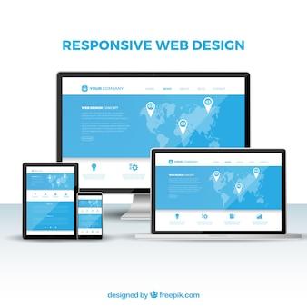 Concepto de diseño web con diseño plano