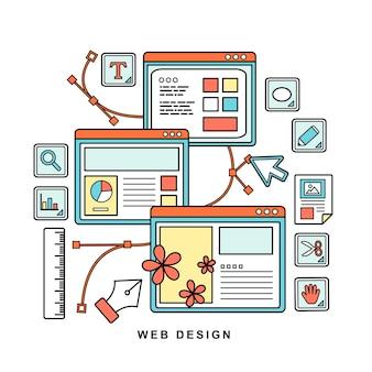 Concepto de diseño web en estilo de línea plana delgada