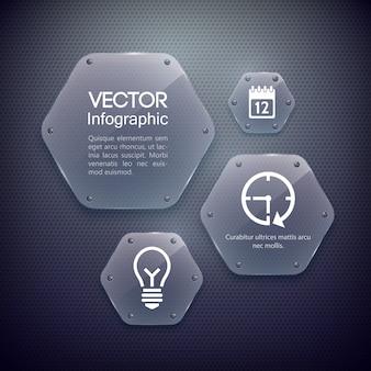 Concepto de diseño web infográfico con iconos y hexágonos de vidrio