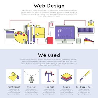 Concepto de diseño web lineal colorido