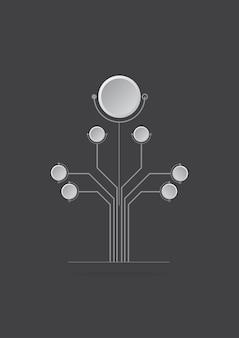 Concepto de diseños de logotipo abstracto árbol digital