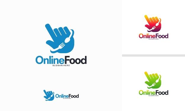 Concepto de diseños de logotipo de comida en línea, vector de plantilla de logotipo de cursor de comida