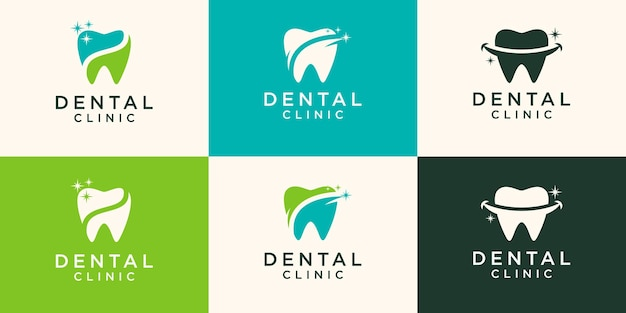 Concepto de diseños de logotipo de star dental, plantilla de logotipo de shine dental,