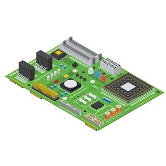 Concepto de dispositivo de equipo de tecnología de vista isométrica de placa de circuito electrónico de computadora