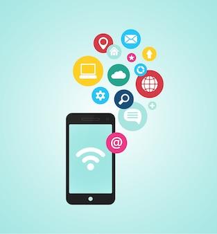 Concepto de dispositivo de teléfono inteligente vectorial con iconos de aplicaciones en diseño plano