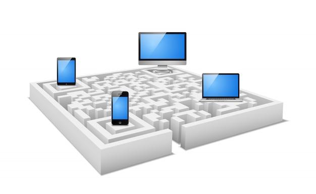 Concepto de dispositivos electrónicos en laberinto digital.