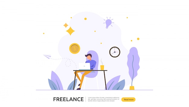Concepto a distancia freelance de trabajo