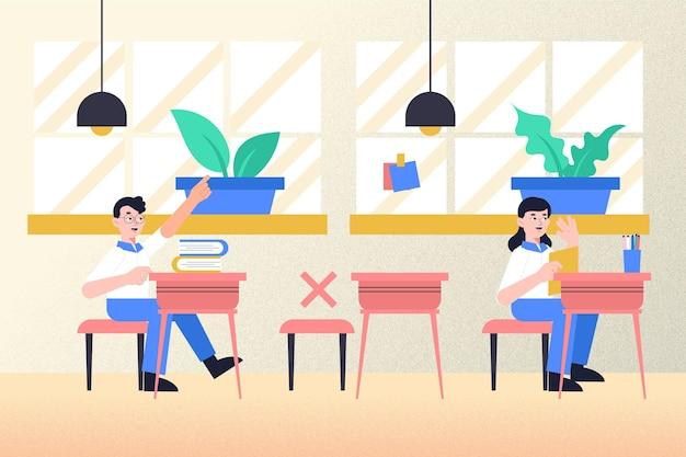 Concepto de distancia social en la escuela