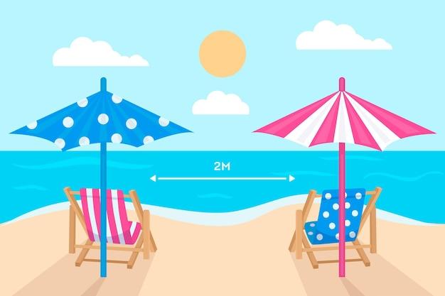 Concepto de distancia social en la playa