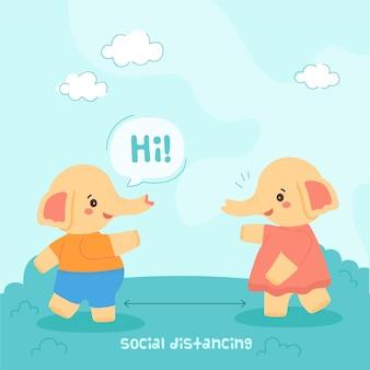Concepto de distanciamiento social con animales lindos.