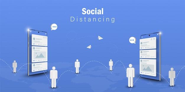 Concepto de distanciamiento social, comunicación de tecnología de medios sociales con teléfono inteligente