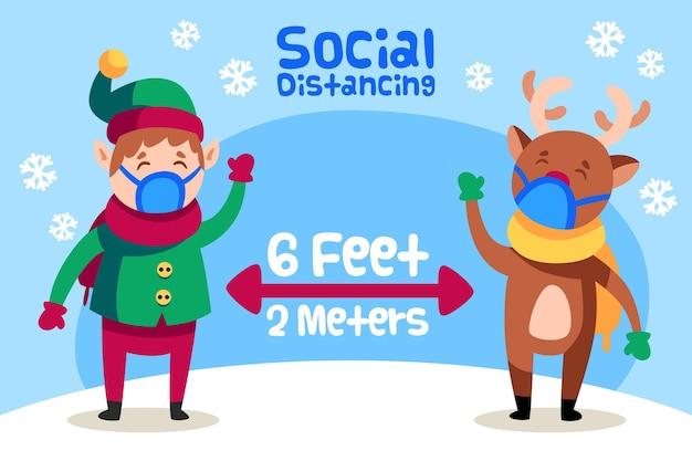 Concepto de distanciamiento social con elfos y renos.