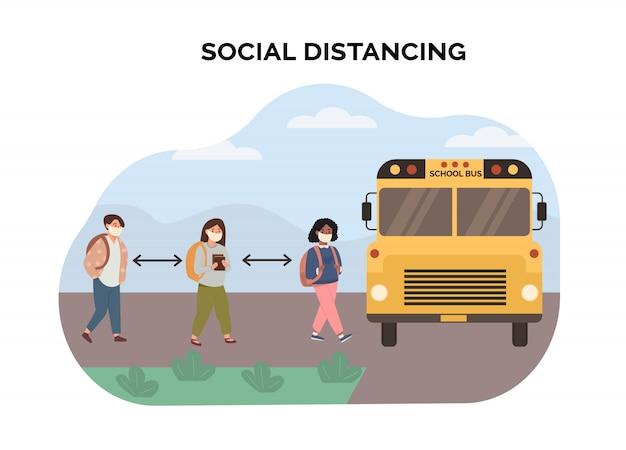 Concepto de distanciamiento social en la escuela. niños de raza mixta multiétnicos que mantienen una distancia segura cuando los recogen en el autobús escolar amarillo. escena de niños con mascarilla. nueva normalidad. ilustración
